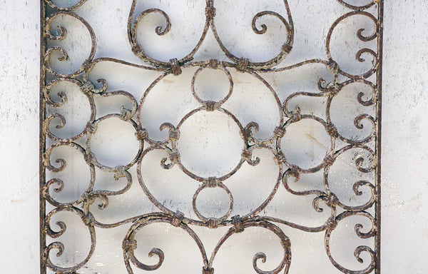 French Colonial Rectangular Wrought Iron Grille Panel