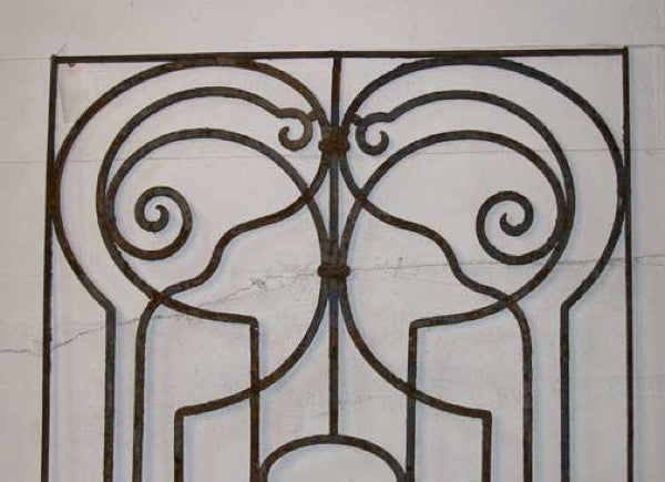 Spanish Art Nouveau Wrought Iron Grille Panel