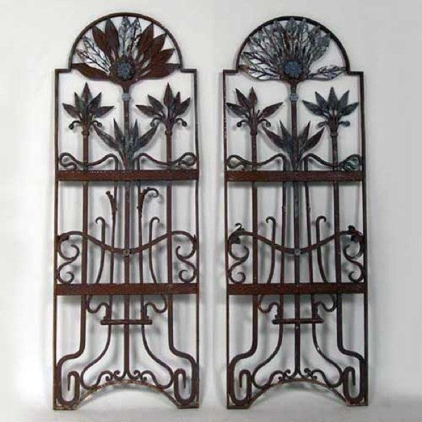 Pair of French Art Nouveau Wrought Iron Window Grilles