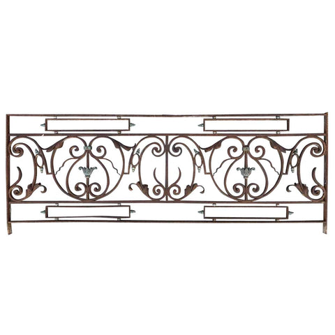 French Louis XV Style Wrought Iron and Patinated Bronze Balcony Front