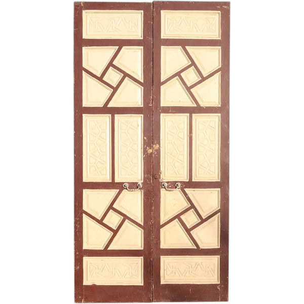 Large Moorish Painted Pine Double Door