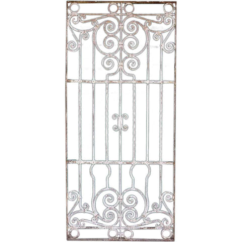Large Spanish Colonial Painted Wrought Iron Window Grille