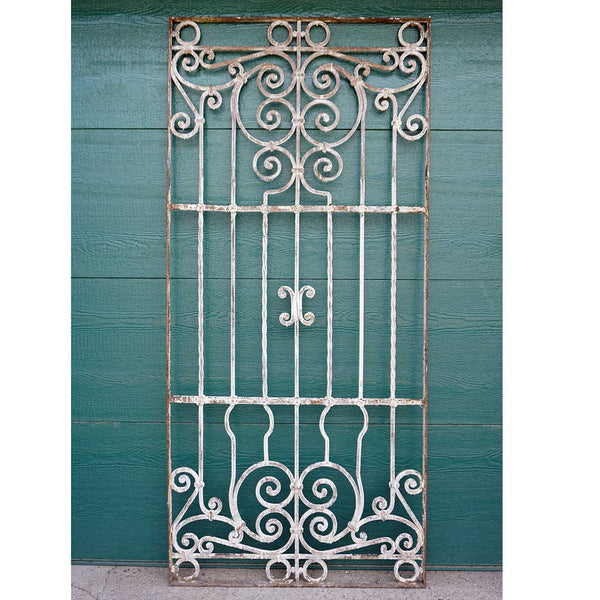 Spanish Colonial Painted Wrought Iron Window Grille