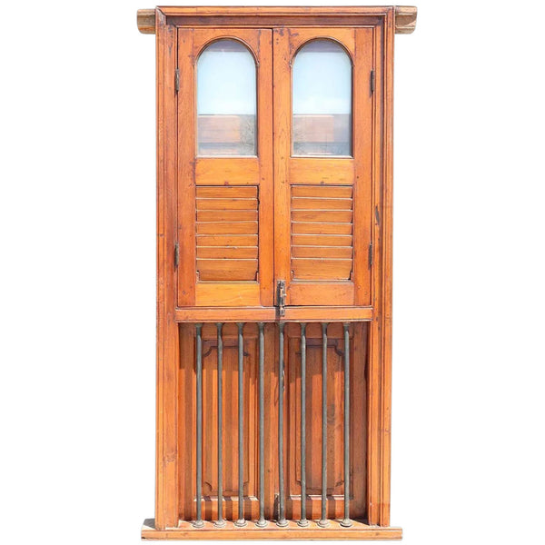 Anglo Indian Teak Window with Frame and Iron Balcony Railing