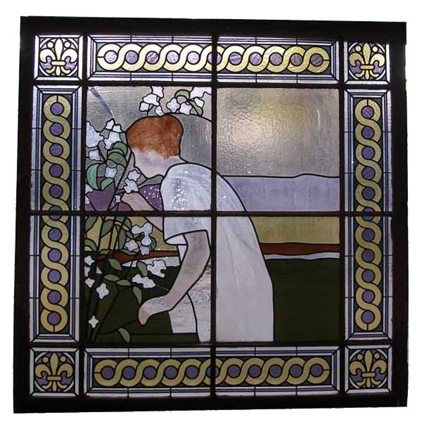Signed French Stained Glass Window