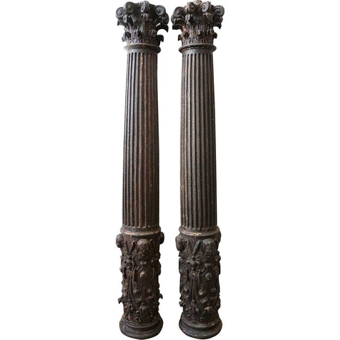 Small Pair of Early Indo-Portuguese Baroque Painted Teak Architectural Pilasters