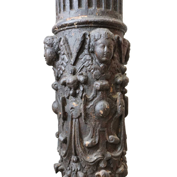 Small Pair of Early Indo-Portuguese Baroque Painted Teak Architectural Pillars