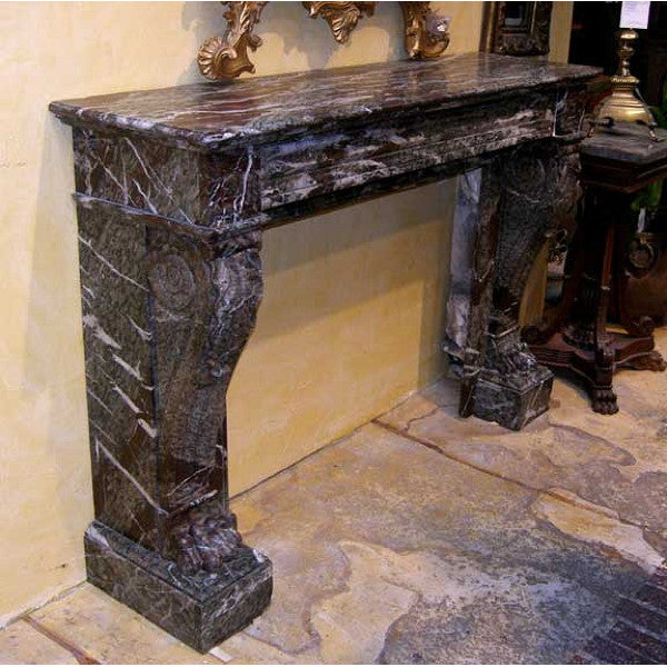 French Empire Italian Marble Fireplace Surround