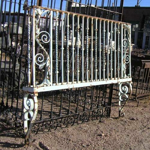 French Heavy Wrought Iron Painted Balcony Railing on Brackets