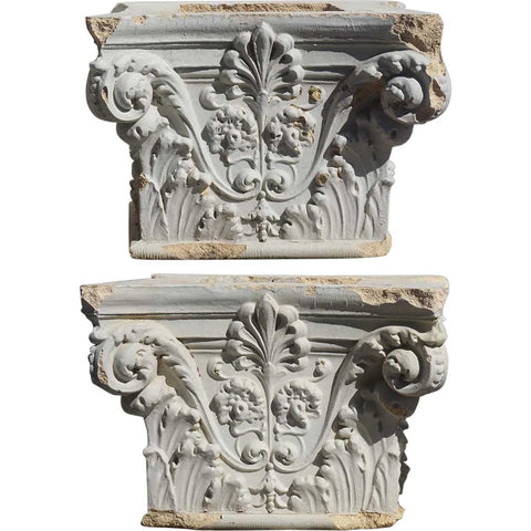 Pair American White Painted Terracotta Building Pillar Capitals