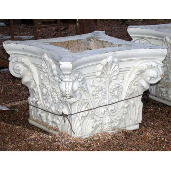American White Painted Terracotta Pillar Capital