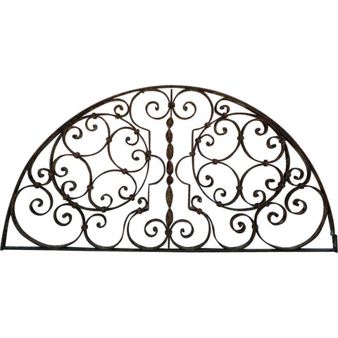 French Colonial Wrought Iron Arched Transom