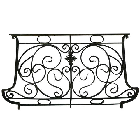 French Art Nouveau Wrought Iron Bombe Balcony Railing