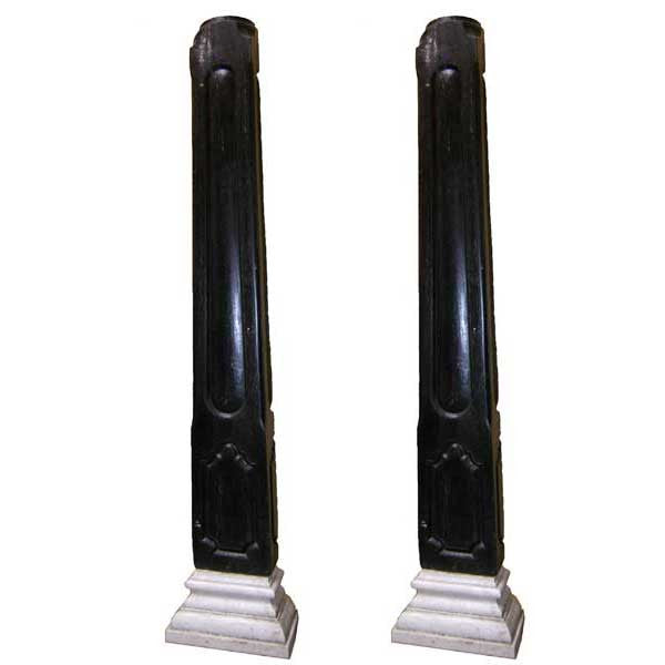 Pair of Anglo Indian Ironwood Marble Base Pilasters