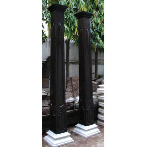 Pair of Anglo Indian Ironwood and Marble Columns