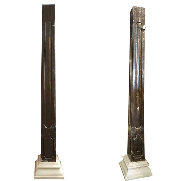 Pair Large Indo-Portuguese Baroque Style Ironwood and Marble Square Columns
