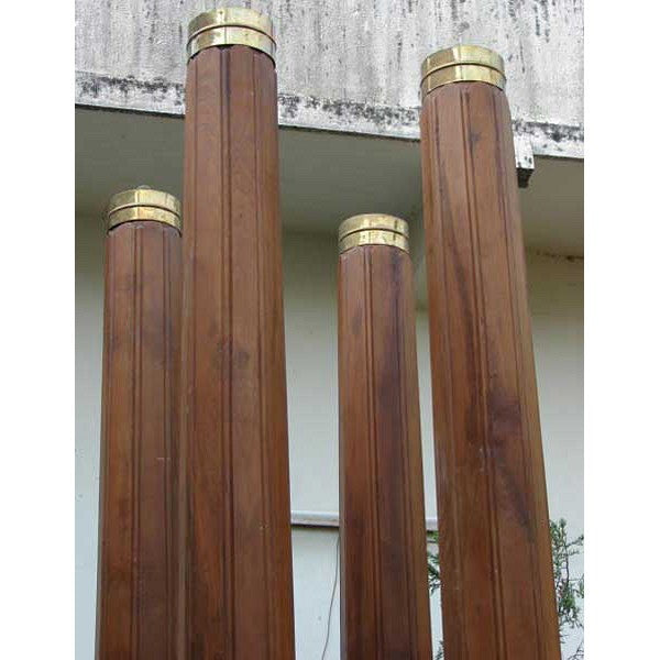 Set of Four Anglo Indian Teak Brass Banded Columns
