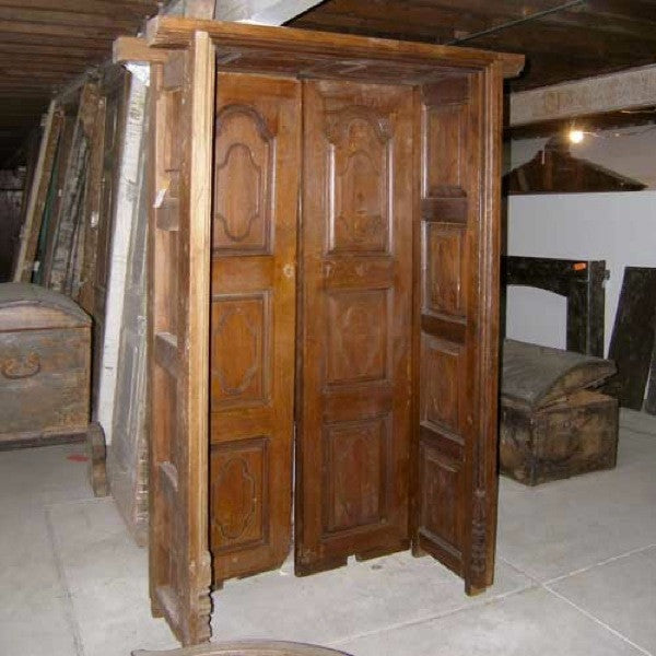 Indo-Portuguese Teak Double Door with Deep Surround