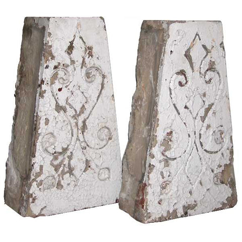 Pair of American Eastlake Painted Stone Architectural Keystones