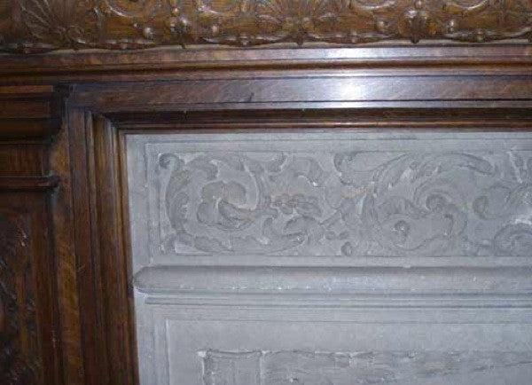 English Jacobean Revival Oak Fireplace Surround with Overmantel