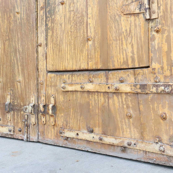 Large Indo-Portuguese Painted Teak and Iron Nailhead (Clavos) Double Door