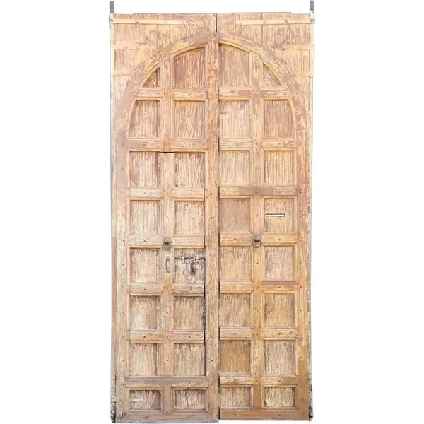 Large Indo-Portuguese Teak and Iron Nailhead (Clavos) Double Door