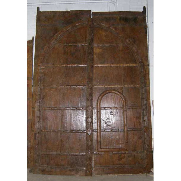 Large Indo-Portuguese Iron Mounted (Clavos) Teak Double Door