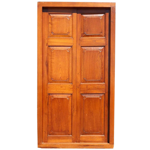 Large Anglo Indian Teak Double Door with Frame