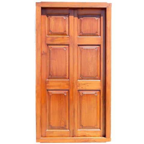 Large Anglo Indian Teak Double Door with Frame - Antique And Vintage Double Doors