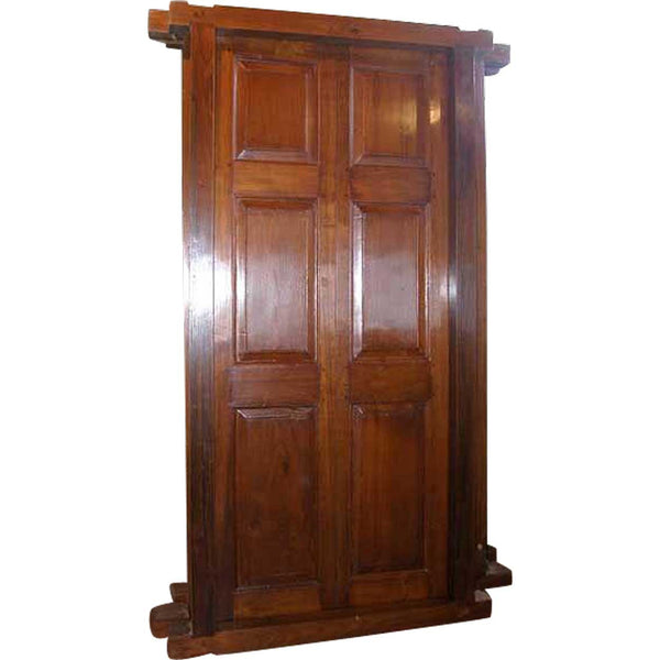 Large Anglo Indian Solid Teak Interior Double Door with Frame
