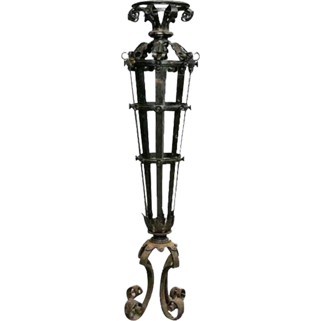 Victorian Wrought Iron Torchiere Exterior Post Lamp