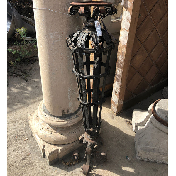 Victorian Wrought Iron Torchiere Exterior Lantern Lamp Post