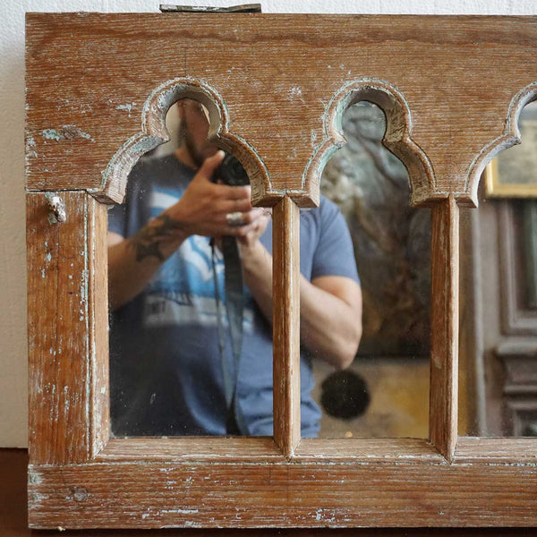 Anglo Indian Gothic Revival Teak Arcade Window Frame Mirror