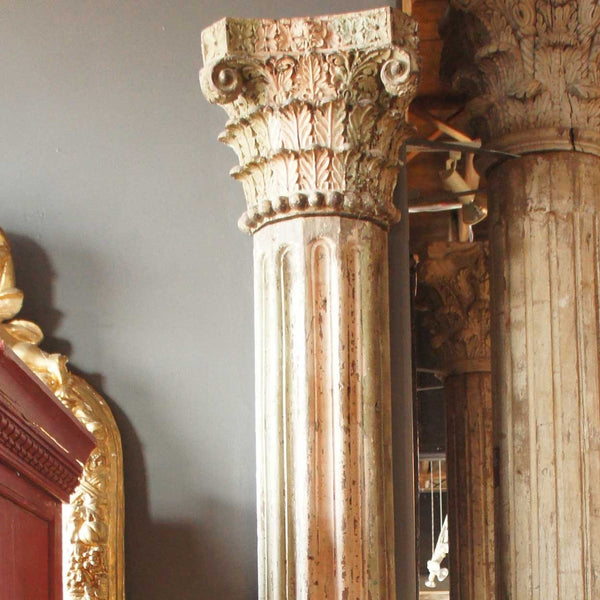 Pair of Anglo Indian Painted Teak Pilasters with Stone Bases