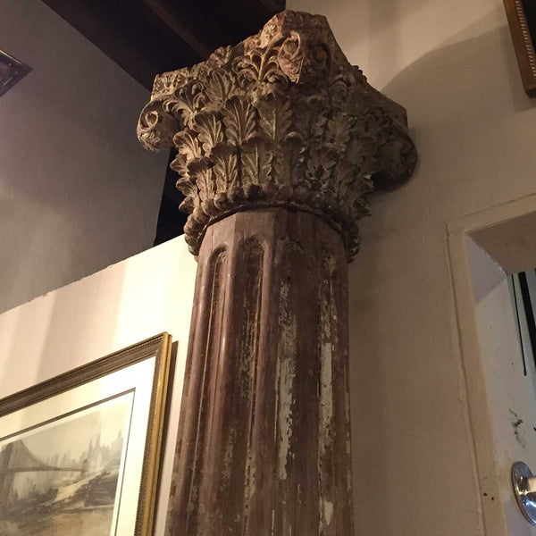 Anglo Indian Painted Teak Limestone Base Building Column