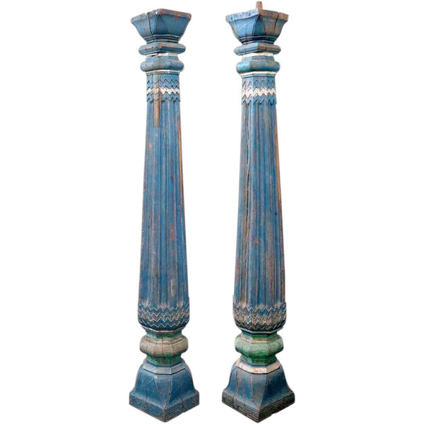 Pair of Indian Painted Teak Columns