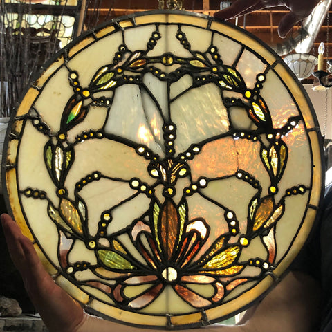 American Victorian Leaded and Stained Glass Round Window