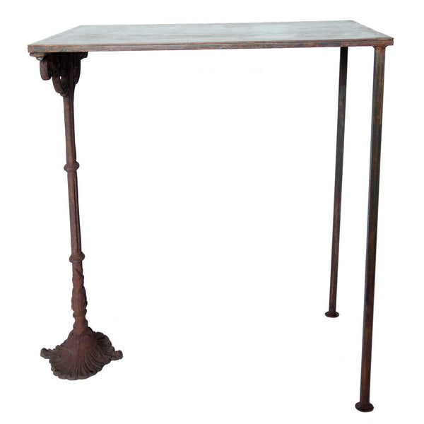 French Cast Iron and Steel Top Side Table