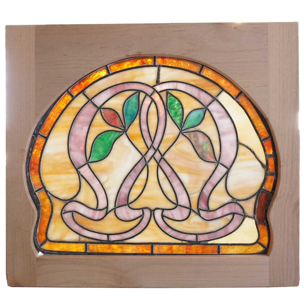 Small American Art Nouveau Stained and Leaded Glass Window