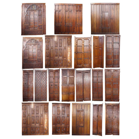 Large Lot of Indian Teak Haveli Architectural Building Elements