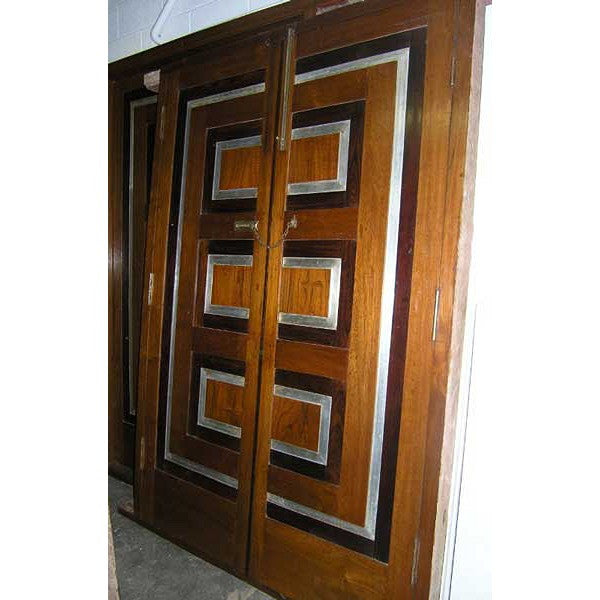 Modernist Teak, Rosewood and Aluminum Double Door with Frame