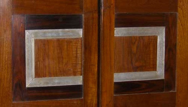 Modernist Teak, Rosewood and Aluminum Double Door with Frame from Chandigarh