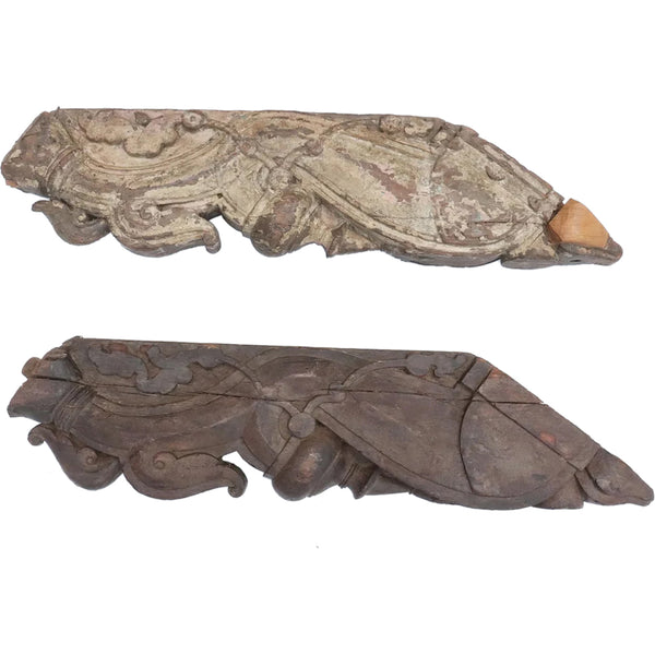 Pair of Indian Teak Architectural Roof Support Brackets