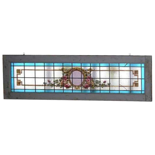 Argentine Mahogany Stained and Painted Glass Transom Window