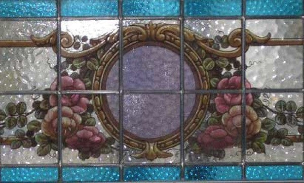 Argentine Mahogany Stained, Leaded and Painted Glass Transom Window