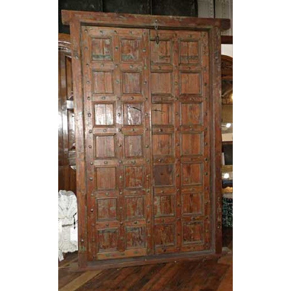 Indian Teak and Iron Nailhead Double Door with Frame