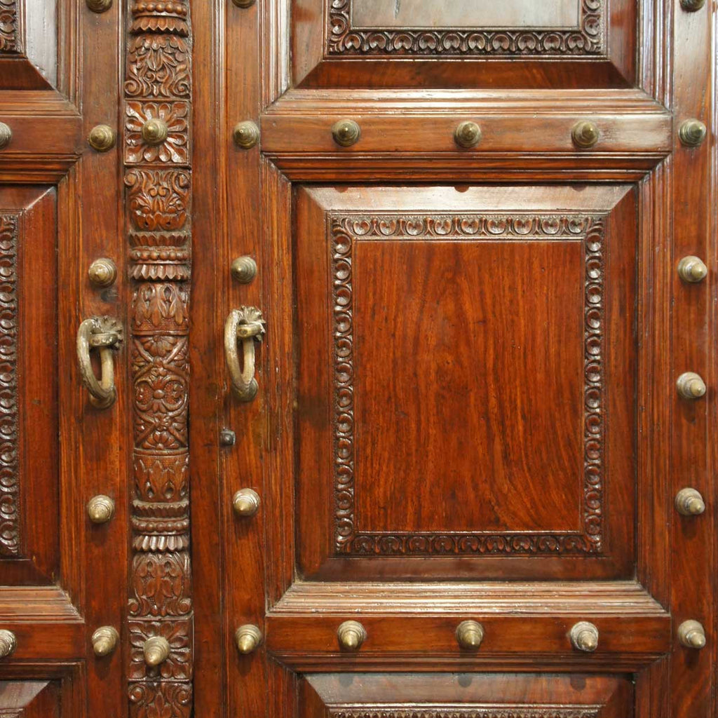 & Large Indo-Portuguese Brass Nailhead Solid Rosewood Double Door