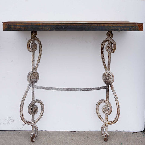 Pair of Steel and Salvaged Iron Wall Mount Console Tables