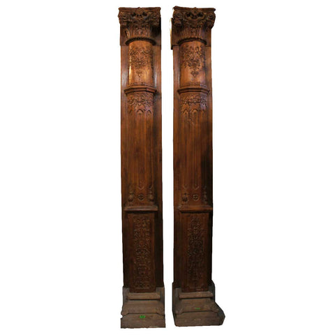 Two Monumental Anglo Indian Teak and Limestone Architectural Pilasters