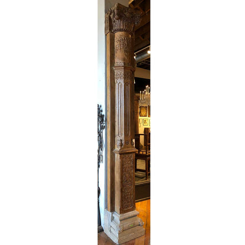 Monumental Indian Teak and Limestone Base Pilaster